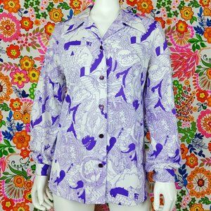 Vintage Floral 1970s Button Down
